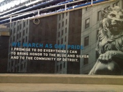 At the entrance of Ford Field